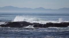 Slow Motion Waves in Juan de Fuca Provincial Park - stock footage