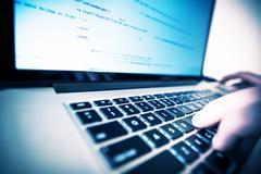 Laptop Computer Works. Web Programmer at Work. Kuvituskuvat