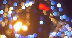 Blurred Blue Lights of Garlands Colorful Lamps Square of City is Illuminated Stock Footage