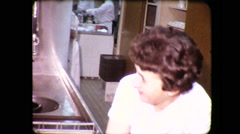 Waitress Washing Dishes Restaurant Kitchen 1960s Vintage Film Home Movie 4140 Stock Footage