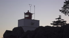 Amphitrite Lighthouse in Ucluelet, Canada Stock Footage
