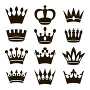 Stock Illustration of Crown icons isolated on white background