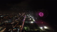 Miami Beach Ocean Drive New Years Eve Fireworks Stock Footage