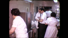 Waitress Waiters Wait Staff Restaurant Busy Kitchen Vintage Film Home Movie 9141 Stock Footage