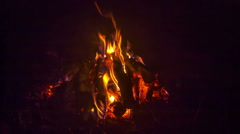 Campfire burning in the night Stock Footage