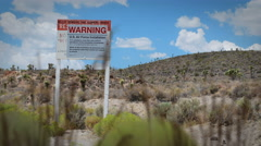 4K--Area 51 Groom Lake Top Secret Sign Jib shot Stock Footage