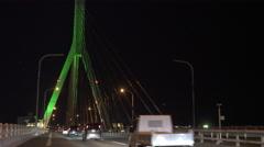 Aomori Bay Bridge at Night Stock Footage