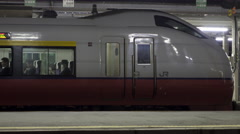 Train Departs Aomori Station in Japan Stock Footage