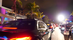 Ocean Drive night life Stock Footage