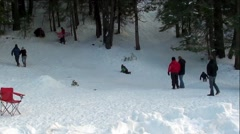 Family Fun at Winter Snow Park - stock footage