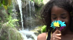 African Teen Girl at Waterfall Stock Footage