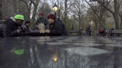 Black and caucasian man playing chess racial harmony in Washington Square Park Stock Footage