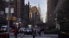 Stock Video Footage of beautiful shot of Lower 5th Ave in late afternoon on brisk fall winter day NYC
