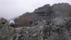 Bodaiji Buddhist Temple at Osorezan in Japan Stock Footage