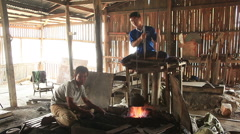 Heating Steel Nyaung Shwe Stock Footage