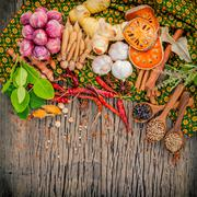 Assortment of  Thai food Cooking ingredients spice taste ,healthy and delicio - stock photo