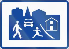 Road sign used in Sweden - Residential area - stock illustration