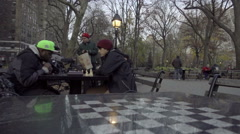 African-American and white man playing chess racial diversity in park tables - stock footage