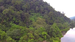 Jungle covered mountain and river, aerial video - stock footage