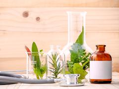 Alternative health care fresh herbal in laboratory glassware  with  stethosco Stock Photos