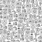 Home electronics sketch vector seamless pattern. - stock illustration