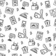 Home electronics sketch vector seamless pattern. Stock Illustration
