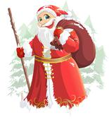 Grandfather Frost painted on a white background Stock Illustration