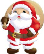 Santa Claus painted on a white background - stock illustration