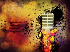 Abstract music background with microphone - stock illustration