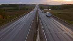 cars on highway road in dusk, timelapse, 4k - stock footage