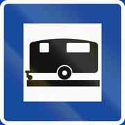 Road sign used in Sweden - Caravan site - stock illustration