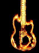 Flaming guitar Stock Illustration