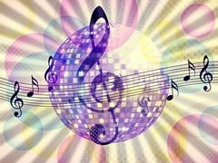 Funky music background with dico ball Stock Illustration