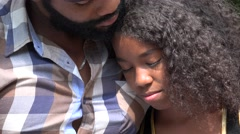 African Father and Sad Daughter - stock footage