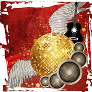 Gold disco ball on red background - stock illustration