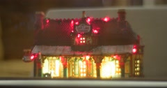 Stock Video Footage of Toy House Illuminated Windows Interior Exclusive Vintage Toy New Year Souvenirs