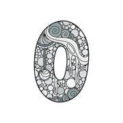 Zentangle number. Vector decorative number. Stock Illustration