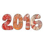 Happy New Year 2016 celebration number. Vector Xmas illustration in zentangle - stock illustration
