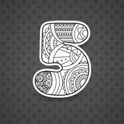 Zentangle number. Vector decorative number. - stock illustration