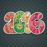 Happy New Year 2016 celebration number. Vector Xmas illustration in zentangle - stock illustration