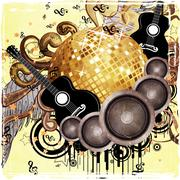 Gold disco ball on yellow background - stock illustration