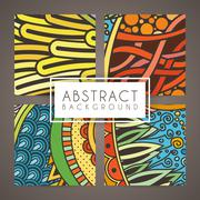 Set of four vector colorful intricate patterns. Doodle. Zentangle Stock Illustration