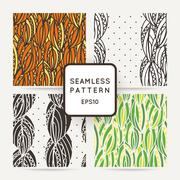 Set of four seamless decorative patterns with zentangle leaves. - stock illustration