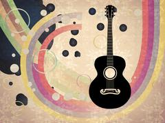 Grunge background with acoustic guitar Stock Illustration