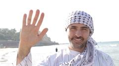 Arab muslim hello gesture Stock Footage