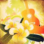 Grunge tropical background with guitar - stock illustration