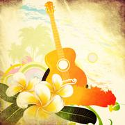 Grunge tropical background with guitar Stock Illustration