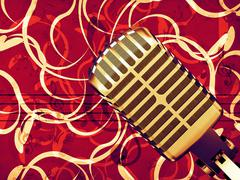 Stock Illustration of Microphone floral background