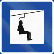 Road sign used in Sweden - Chair lift - stock illustration