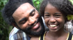 African Father and Daughter Stock Footage